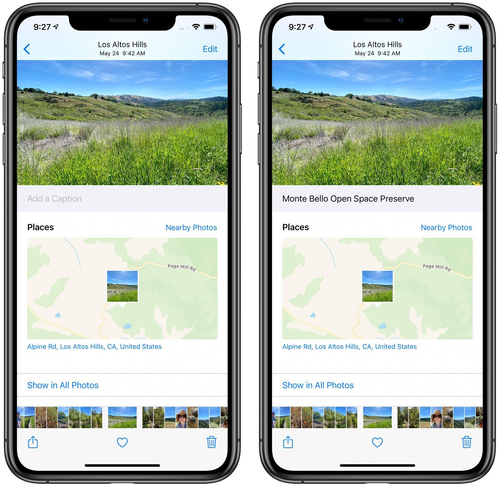 Add captions to photos iOS 14